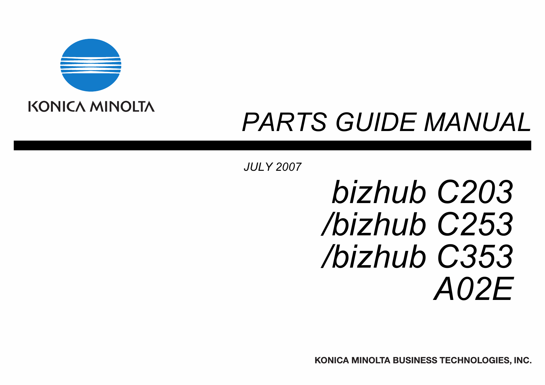 Konica-Minolta bizhub C203 C253 C353 Parts Manual